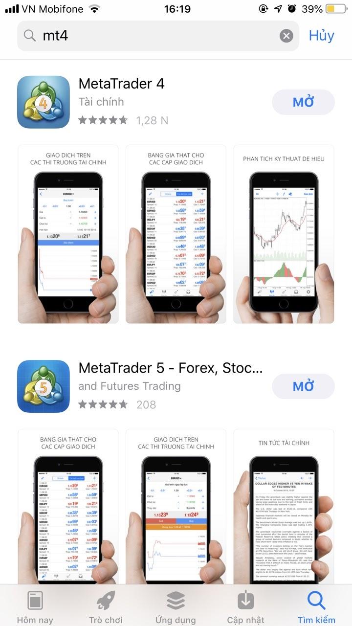 Tải Metatrader 4 trong điện thoại